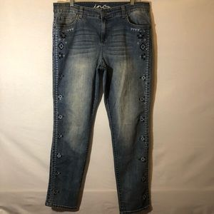 INC skinny leg jeans with embroidery and studs
